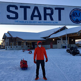 "De Decker at the starting line of ""The World's Coldest and Toughest Ultra"" in 2018."