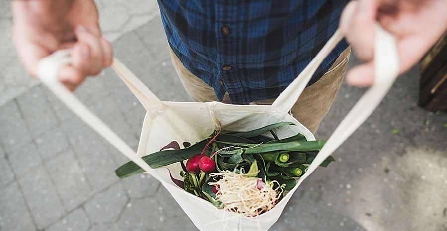 Farmers market food in a shopping bag