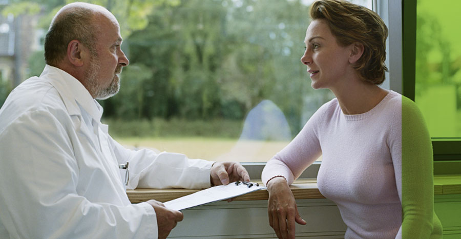 A patient and doctor in conversation